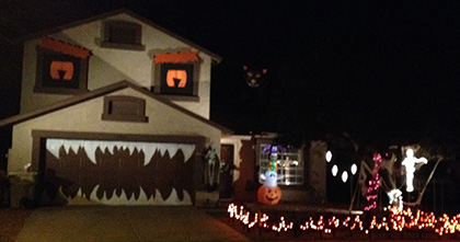 house decorated as monster with halloween decor